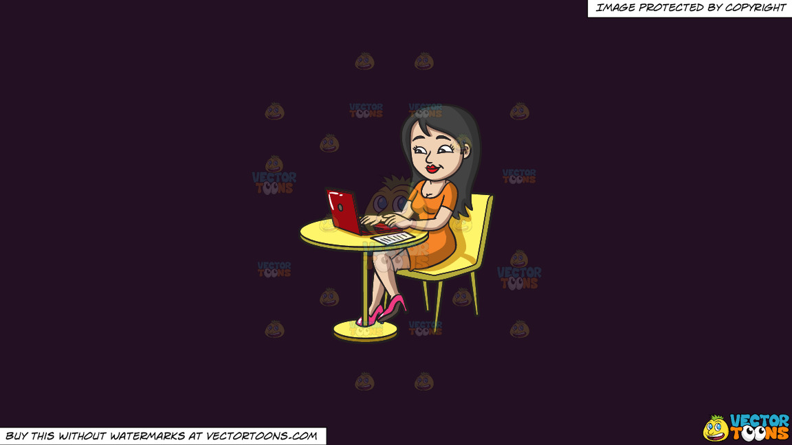 A Pretty Woman Paying Her Bills Online On A Solid Purple Rasin 241023 Background thumbnail