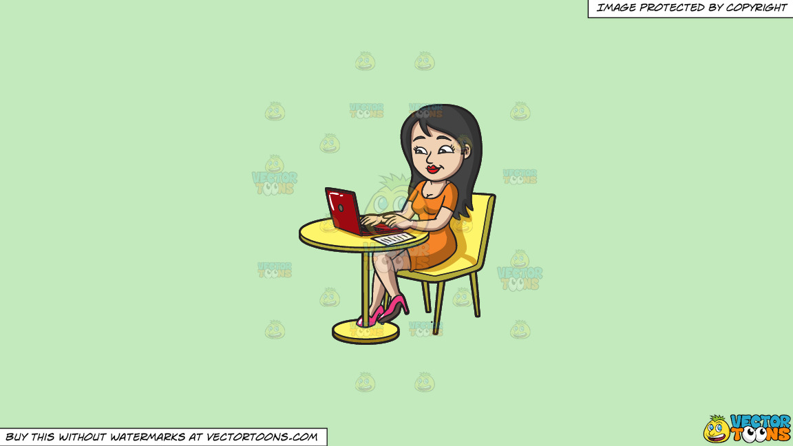 A Pretty Woman Paying Her Bills Online On A Solid Tea Green C2eabd Background thumbnail