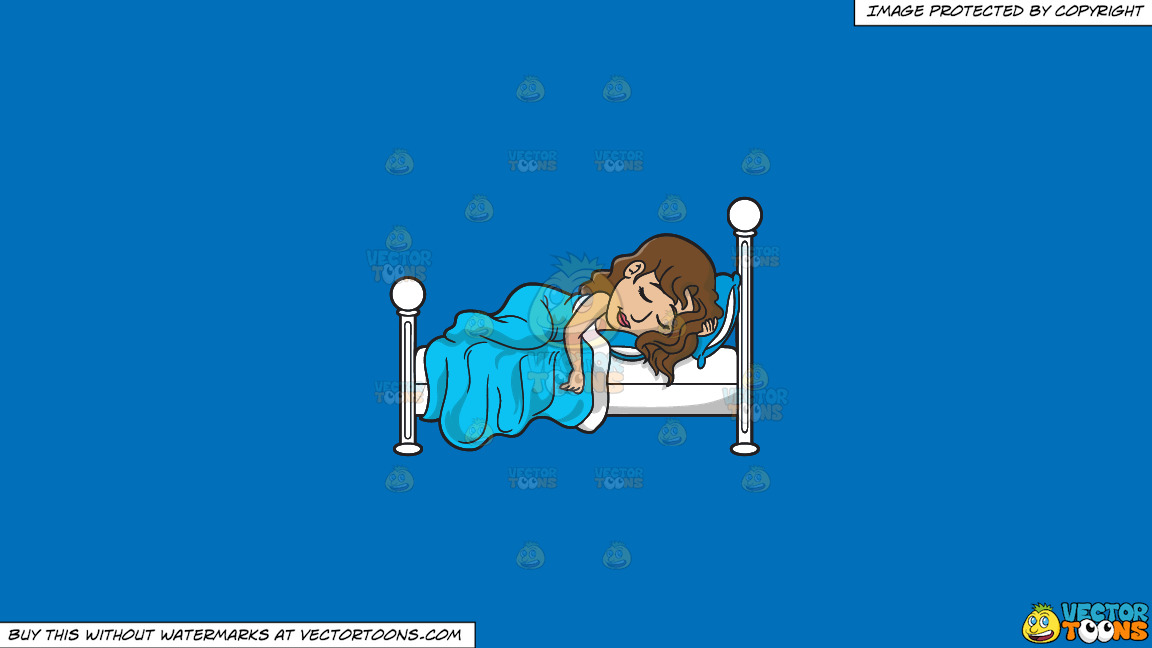 A Pretty Woman Sleeping So Well On A Solid Spanish Blue 016fb9 Background thumbnail