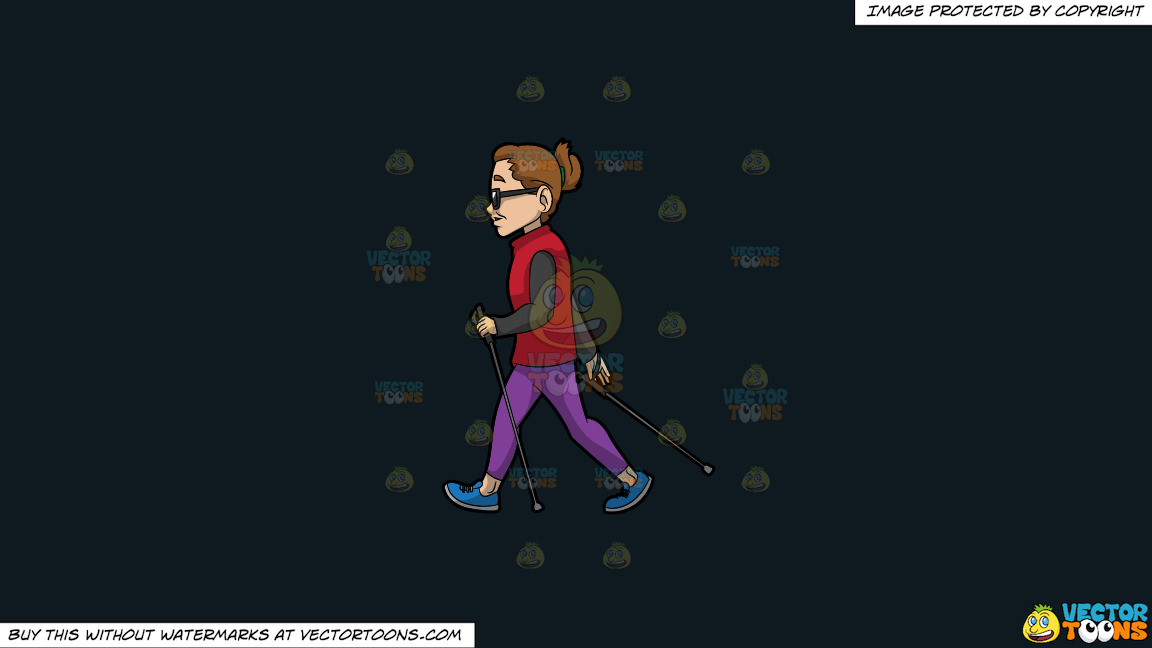 A Pro Female Nordic Walker On A Solid Off Black 0f1a20 Background thumbnail
