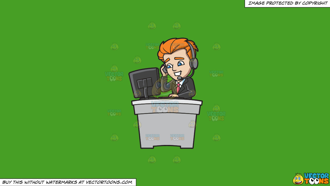 A Professional Call Center Agent On A Solid Kelly Green 47a025 Background thumbnail