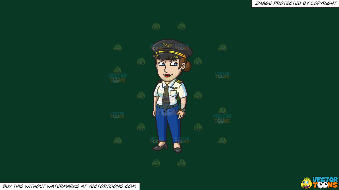 A Professional Lady Pilot On A Solid Dark Green 093824 Background thumbnail