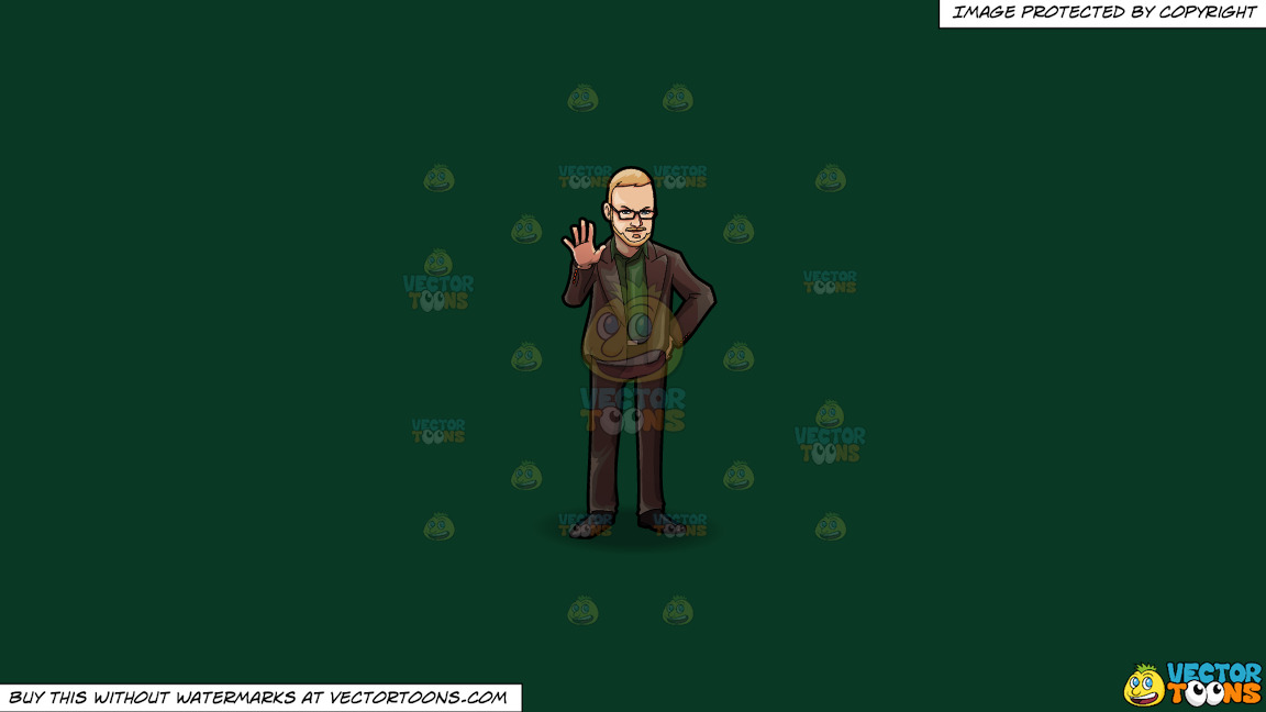 A Professional Man Signaling Someone To Stop On A Solid Dark Green 093824 Background thumbnail