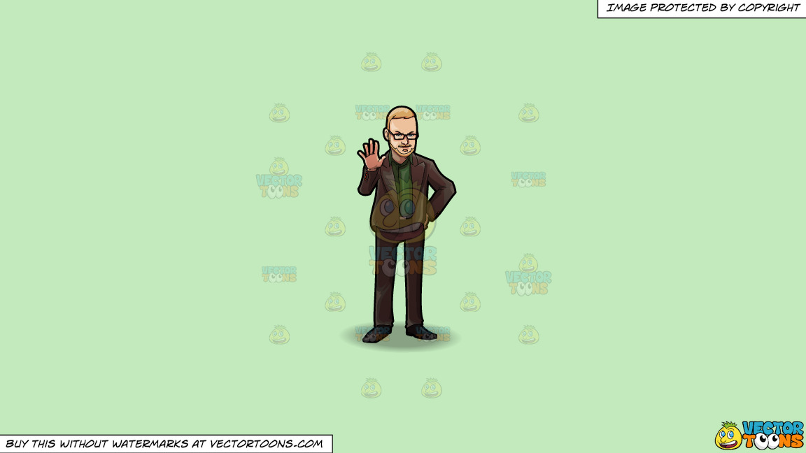 A Professional Man Signaling Someone To Stop On A Solid Tea Green C2eabd Background thumbnail
