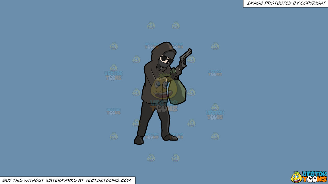 A Professional Robber Carrying A Bag Of Money On A Solid Shadow Blue 6c8ead Background thumbnail