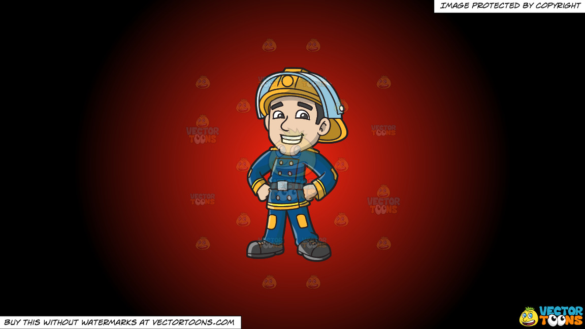 A Proud Firefighter On A Red And Black Gradient Background thumbnail