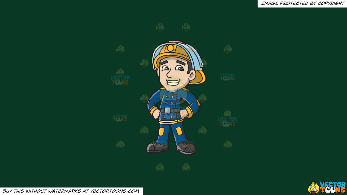 A Proud Firefighter On A Solid Dark Green 093824 Background thumbnail