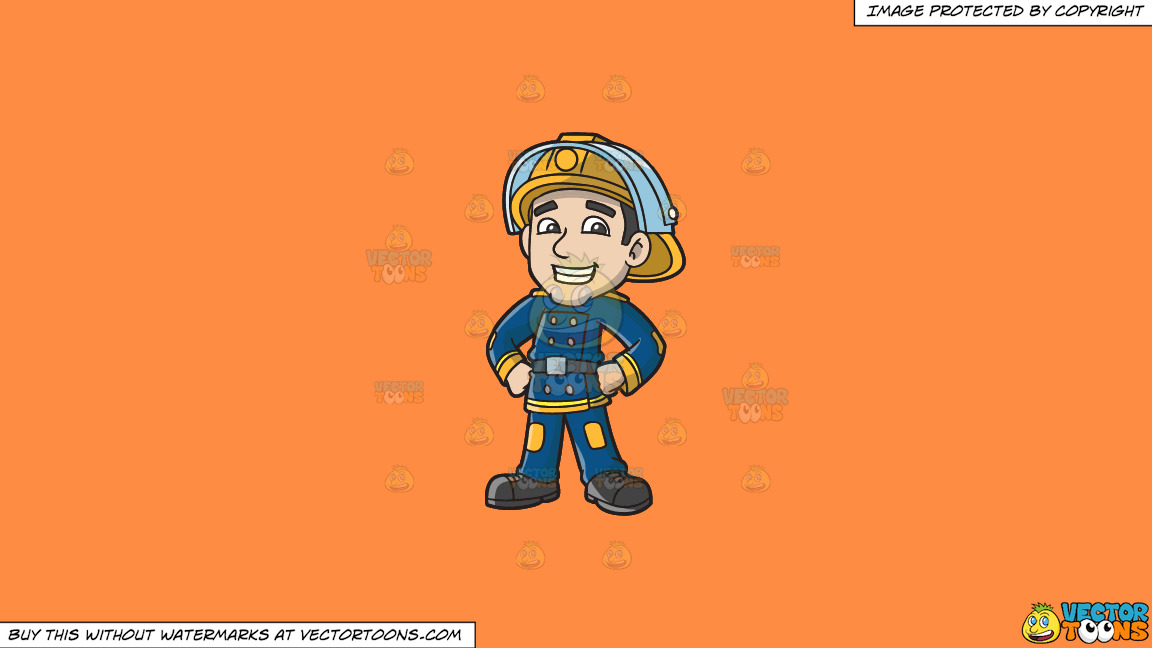 A Proud Firefighter On A Solid Mango Orange Ff8c42 Background thumbnail