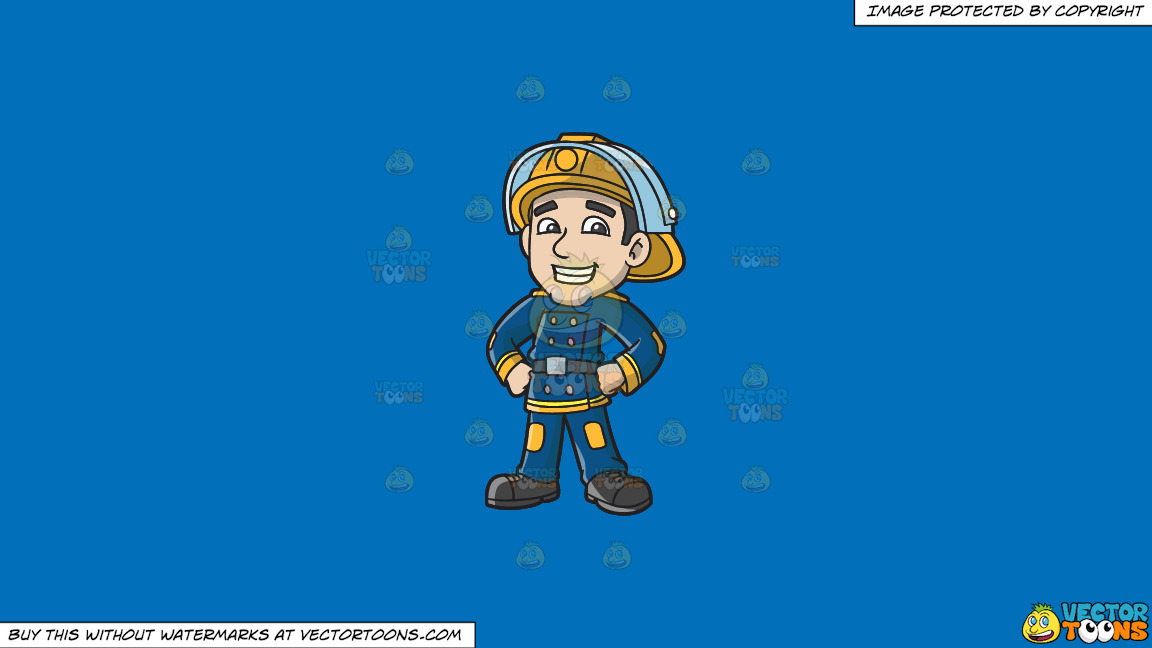 A Proud Firefighter On A Solid Spanish Blue 016fb9 Background thumbnail