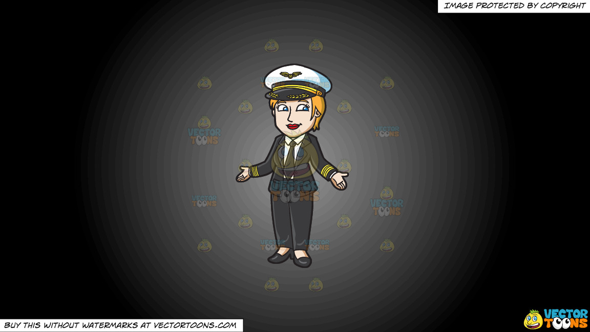 A Proud Lady Pilot On A Grey And Black Gradient Background thumbnail