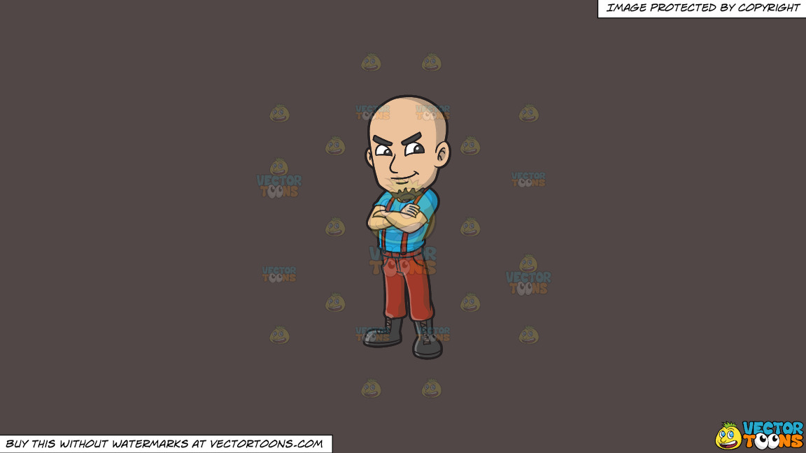 A Proud Skinhead With His Arms Crossed On A Solid Quartz 504746 Background thumbnail