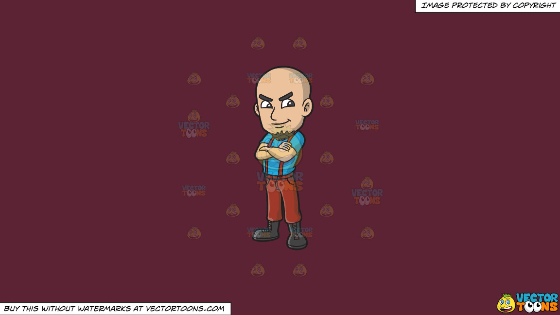 A Proud Skinhead With His Arms Crossed On A Solid Red Wine 5b2333 Background thumbnail