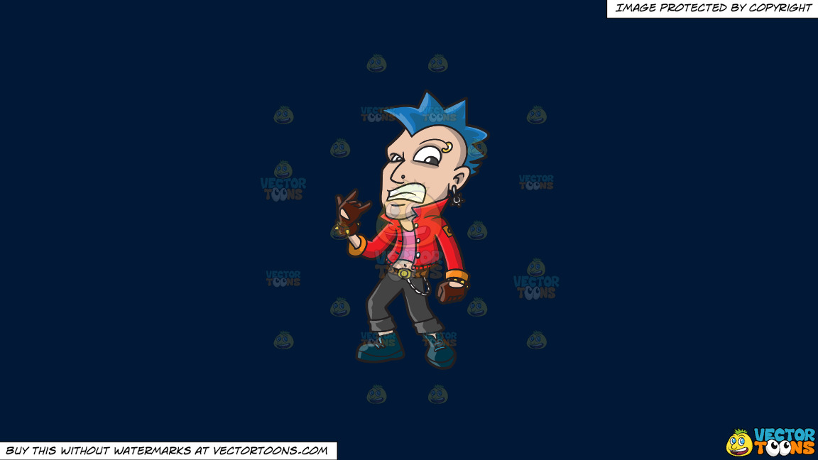 A Punk Rocker With A Blue Mohawk On A Solid Dark Blue 011936 Background thumbnail