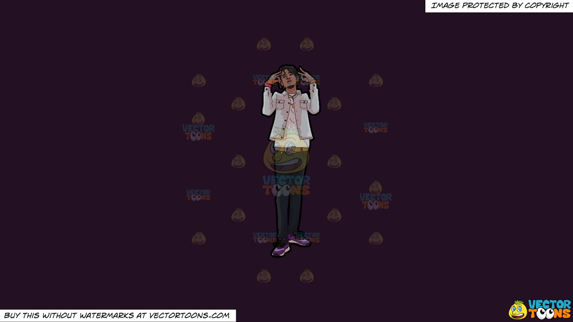 A Rapper Doing His Thing On A Solid Purple Rasin 241023 Background thumbnail
