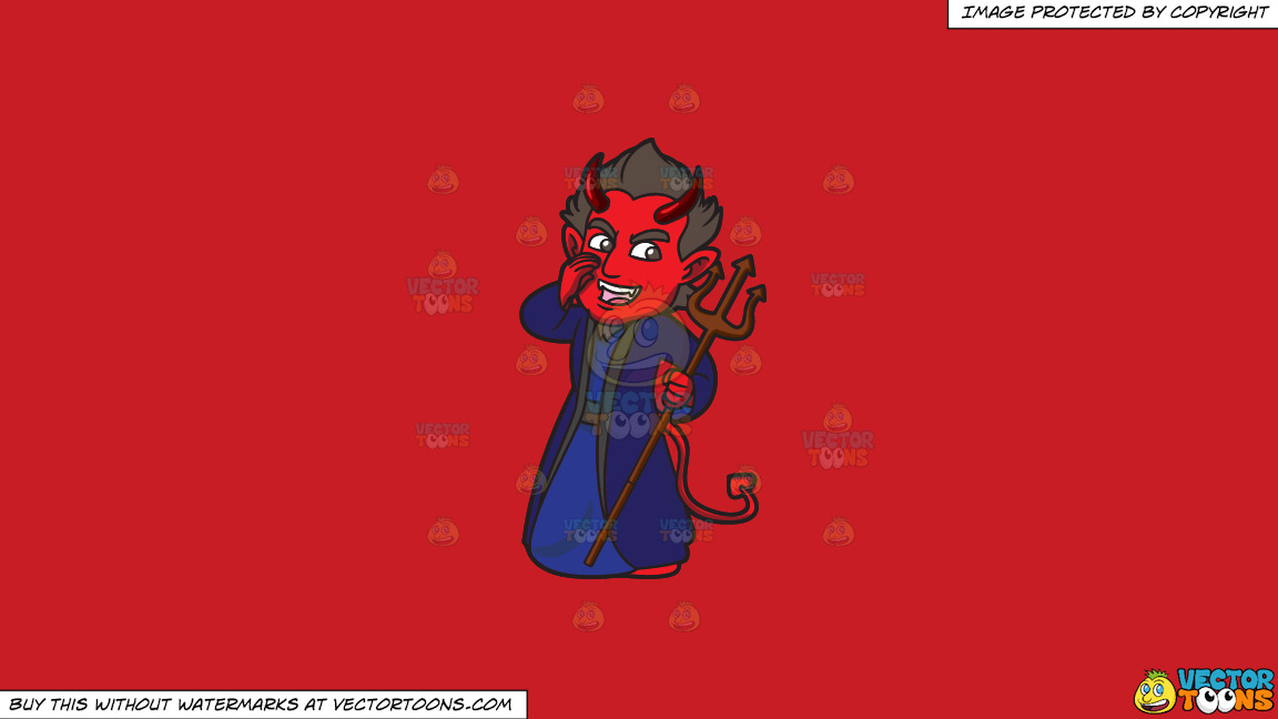 A Red Devil Making Gossip On A Solid Fire Engine Red C81d25 Background thumbnail