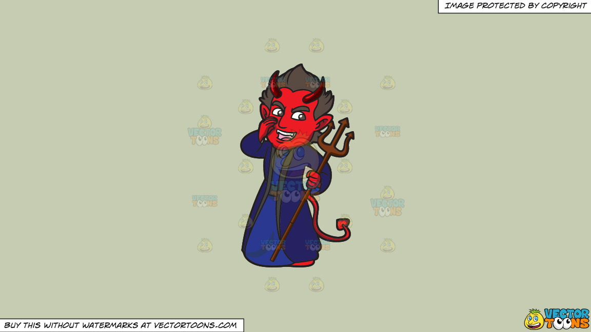 A Red Devil Making Gossip On A Solid Pale Silver C6ccb2 Background thumbnail