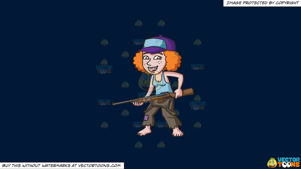A Redneck Woman With A Gun On A Solid Dark Blue 011936 Background thumbnail
