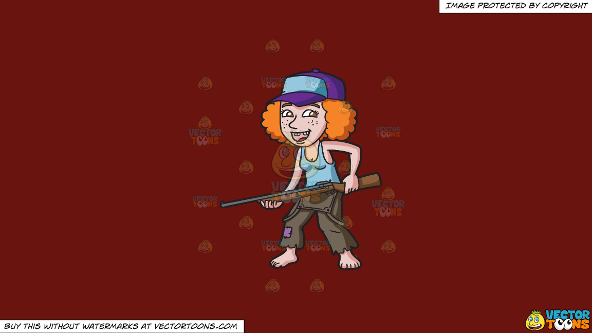 A Redneck Woman With A Gun On A Solid Maroon 69140e Background thumbnail
