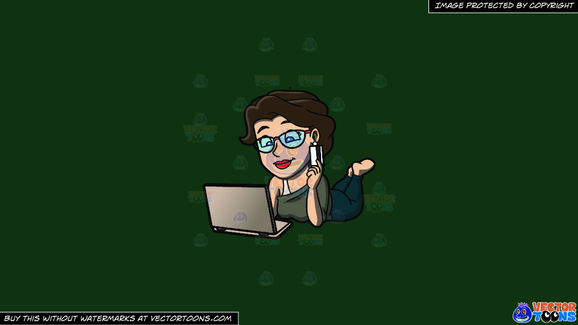 A Relaxed Woman Shopping Online On A Solid Dark Green 093824 Background thumbnail