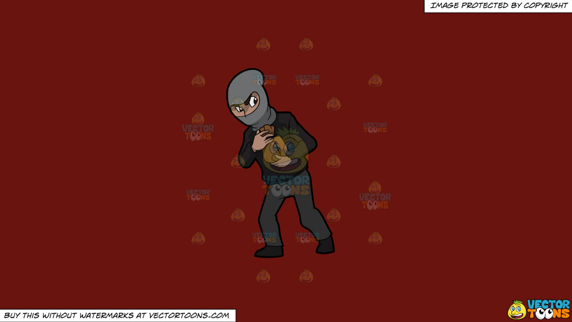 A Robber Carrying A Small Bag Of Money On A Solid Maroon 69140e Background thumbnail
