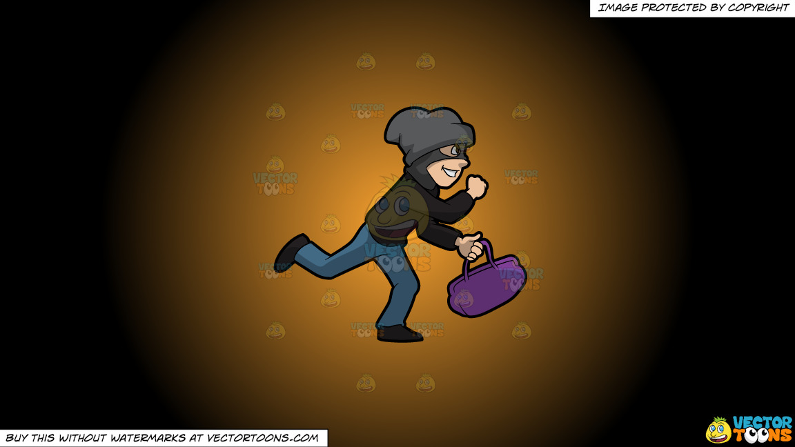A Robber Running Away With A Stolen Bag On A Orange And Black Gradient Background thumbnail