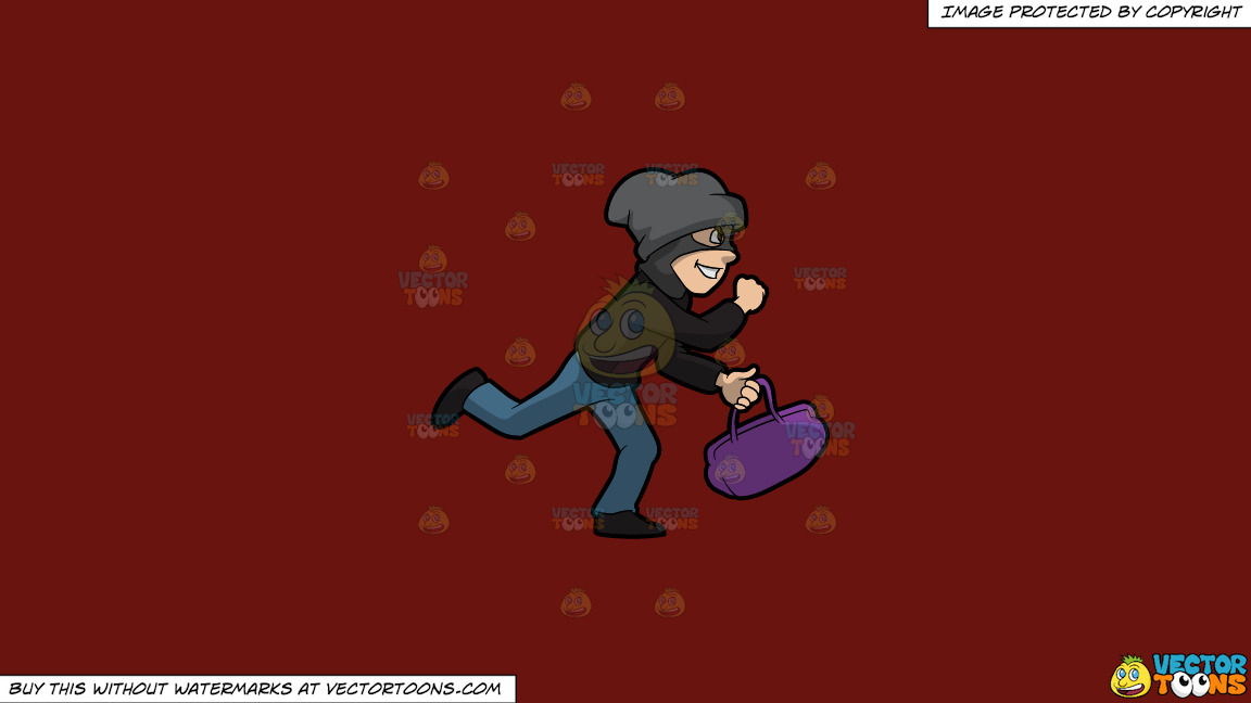A Robber Running Away With A Stolen Bag On A Solid Maroon 69140e Background thumbnail