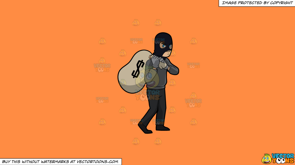 A Robber Taking A Big Sack Of Money On A Solid Mango Orange Ff8c42 Background thumbnail