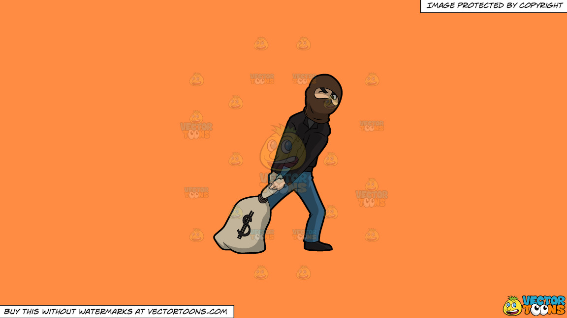 A Robber Trying To Drag A Very Heavy Sack Of Money On A Solid Mango Orange Ff8c42 Background thumbnail