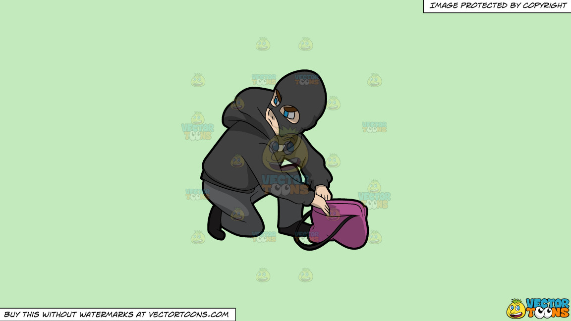 A Robber Trying To Steal An Item From A Bag On A Solid Tea Green C2eabd Background thumbnail