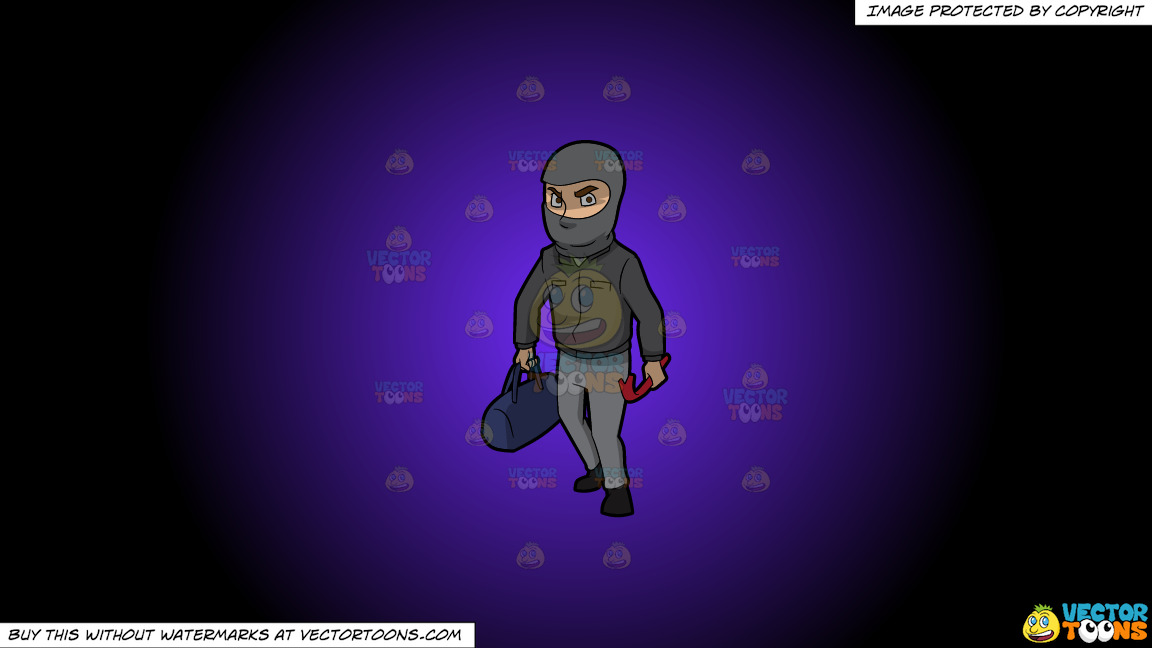 A Robber With His Tools On A Purple And Black Gradient Background thumbnail