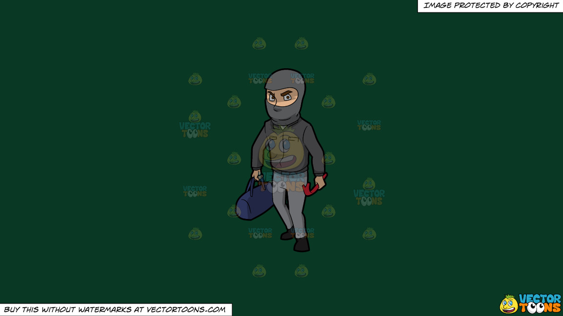 A Robber With His Tools On A Solid Dark Green 093824 Background thumbnail