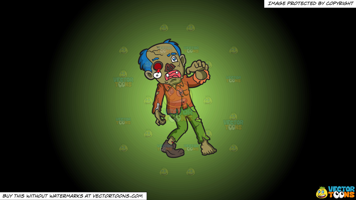A Rotting Zombie On A Green And Black Gradient Background thumbnail