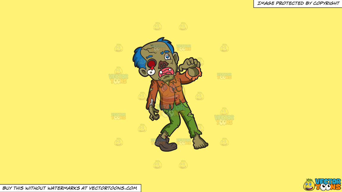 A Rotting Zombie On A Solid Sunny Yellow Fff275 Background thumbnail