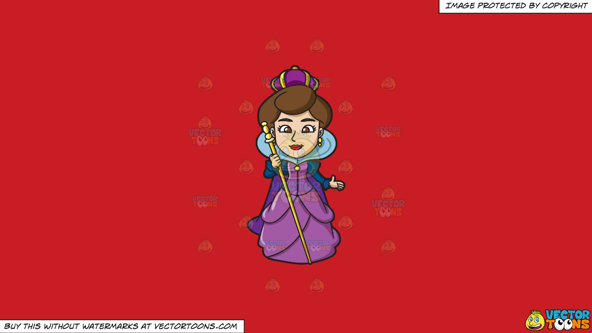 A Royal Queen On A Solid Fire Engine Red C81d25 Background thumbnail