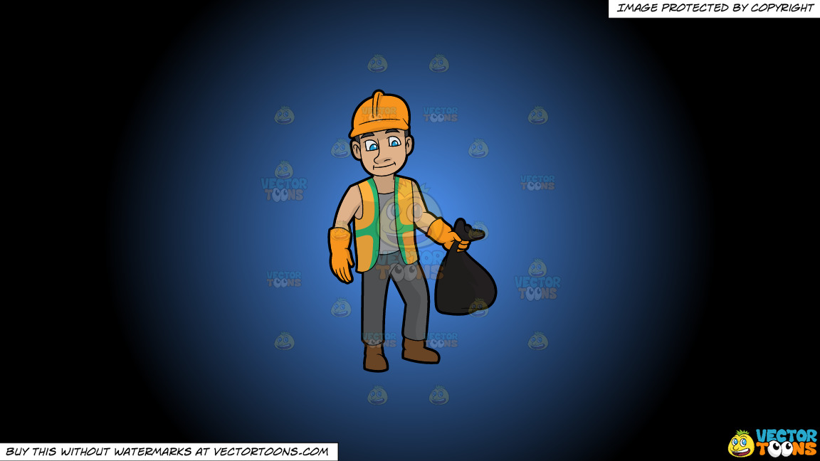 A Rugged Male Sanitation Worker On A Blue And Black Gradient Background thumbnail