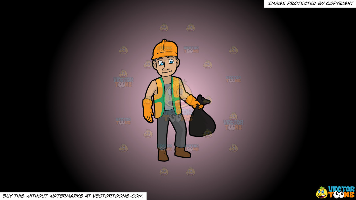A Rugged Male Sanitation Worker On A Pink And Black Gradient Background thumbnail