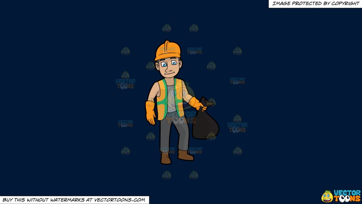 A Rugged Male Sanitation Worker On A Solid Dark Blue 011936 Background thumbnail
