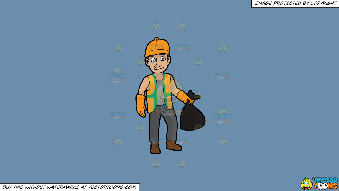 A Rugged Male Sanitation Worker On A Solid Shadow Blue 6c8ead Background thumbnail
