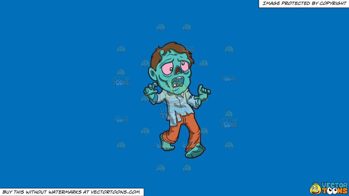 A Running Zombie On A Solid Spanish Blue 016fb9 Background thumbnail