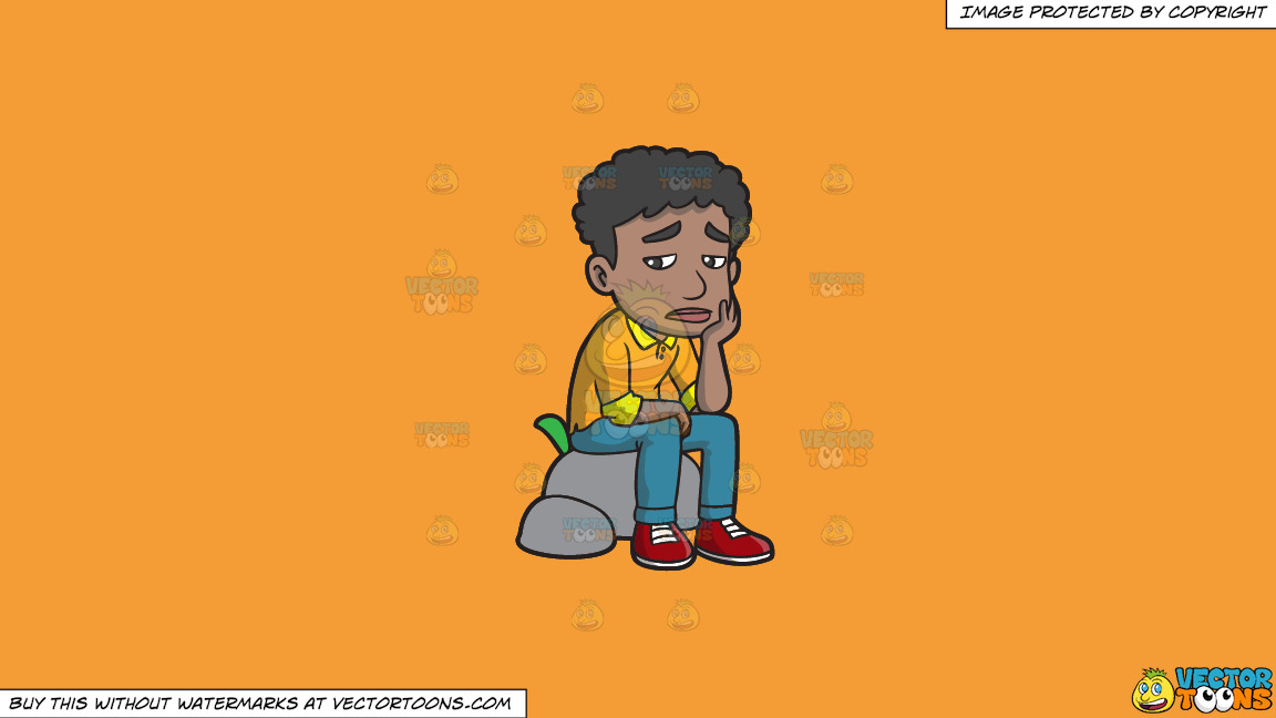 A Sad Black Man Sitting On A Rock On A Solid Deep Saffron Gold F49d37 Background thumbnail