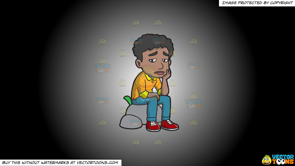 A Sad Black Man Sitting On A Rock On A White And Black Gradient Background thumbnail