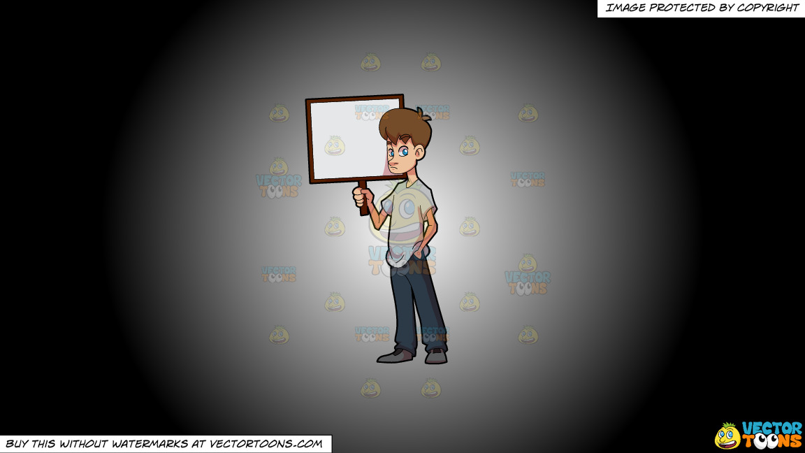 A Sad Boy Holding A Signboard On A White And Black Gradient Background thumbnail