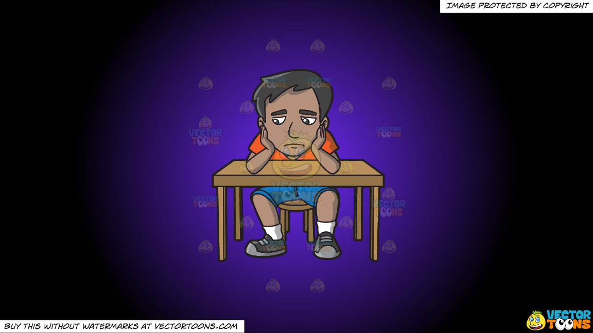 A Sad Indian Man Slumped At His Desk On A Purple And Black Gradient Background thumbnail