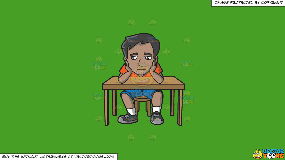A Sad Indian Man Slumped At His Desk On A Solid Kelly Green 47a025 Background thumbnail