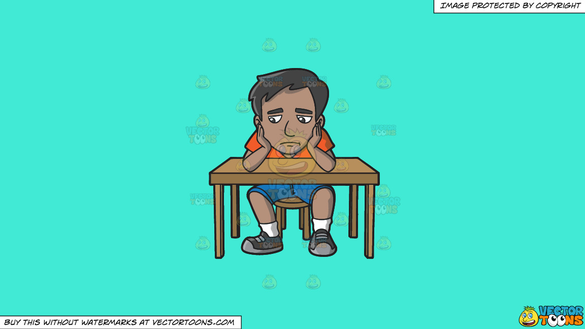 A Sad Indian Man Slumped At His Desk On A Solid Turquiose 41ead4 Background thumbnail