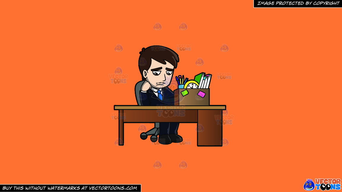 A Sad Mad Sitting At His Desk After Being Fired On A Solid Mango Orange Ff8c42 Background thumbnail