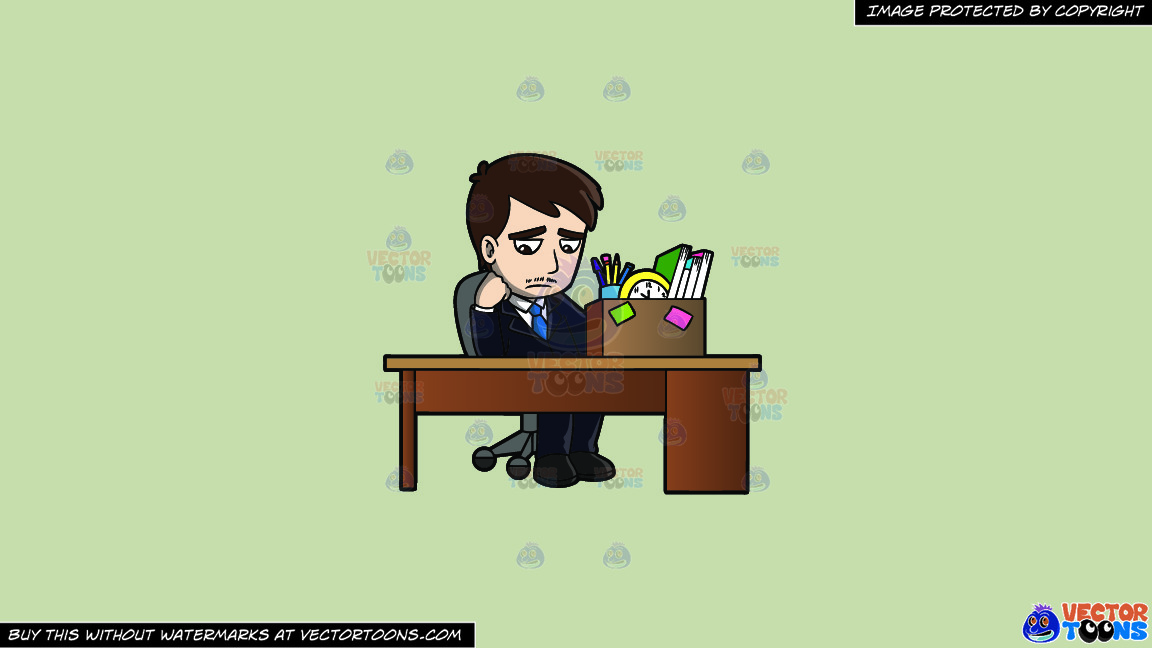 A Sad Mad Sitting At His Desk After Being Fired On A Solid Pale Silver C6ccb2 Background thumbnail