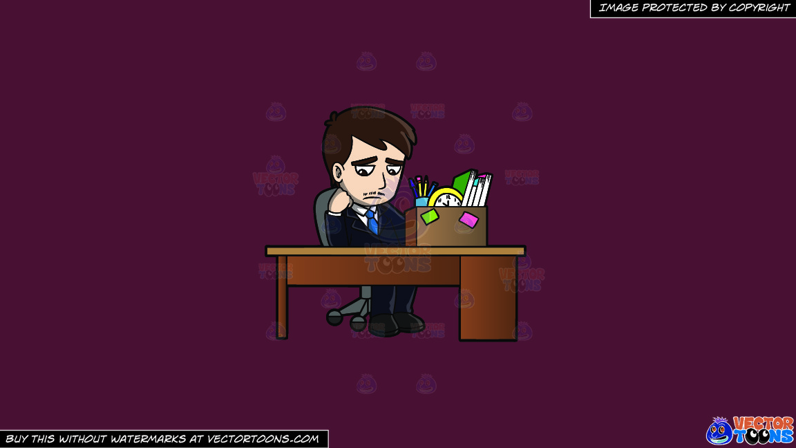 A Sad Mad Sitting At His Desk After Being Fired On A Solid Red Wine 5b2333 Background thumbnail