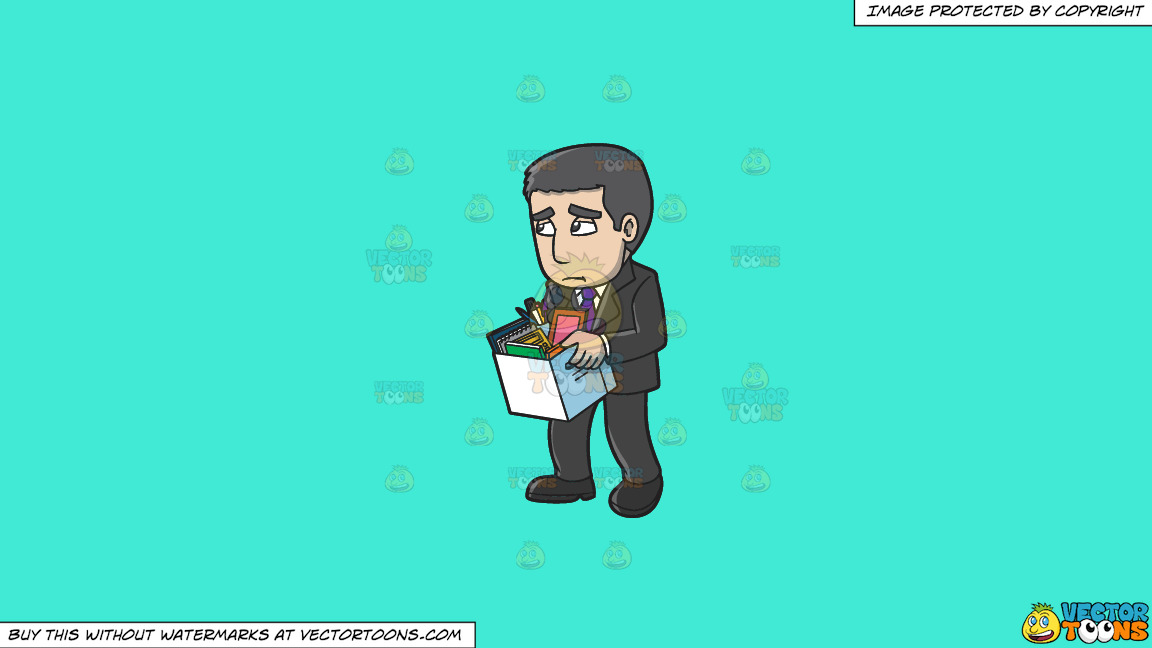 A Sad Man Getting His Things After Being Fired From Work On A Solid Turquiose 41ead4 Background thumbnail