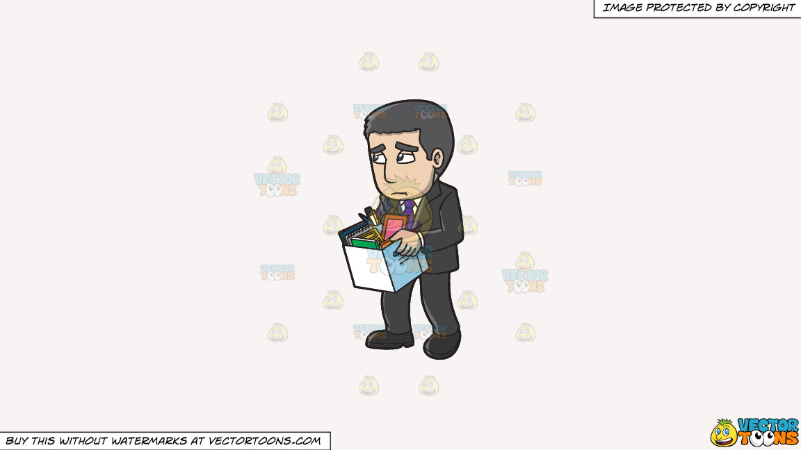 A Sad Man Getting His Things After Being Fired From Work On A Solid White Smoke F7f4f3 Background thumbnail